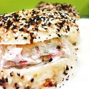 Radish Bagel with Veggie Cream Cheese
